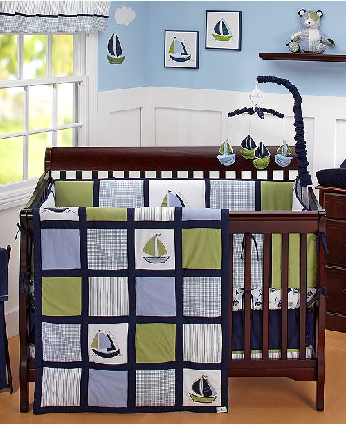Zachary 100 Cotton 6 Pc Crib Bedding Set