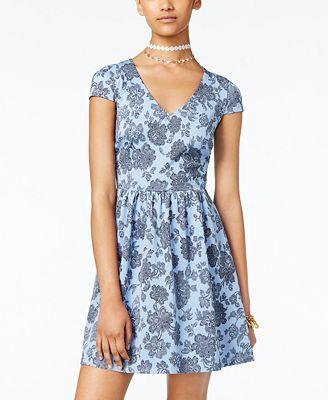 B Darlin Juniors' Printed Illusion Fit & Flare Dress