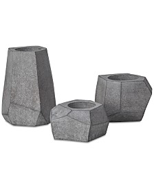 INK+IVY 3-Pc. Geo Gray Planters Set