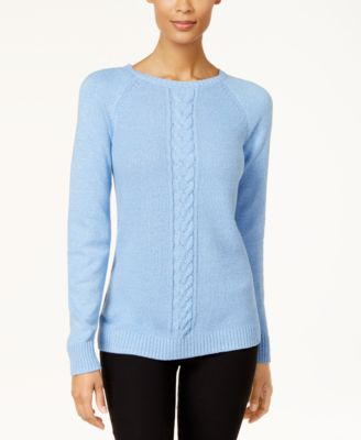 Image of Karen Scott Cotton Cable-Knit Sweater, Created for Macy's