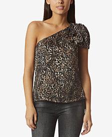 Avec Les Filles Leopard-Print One-Shoulder Top