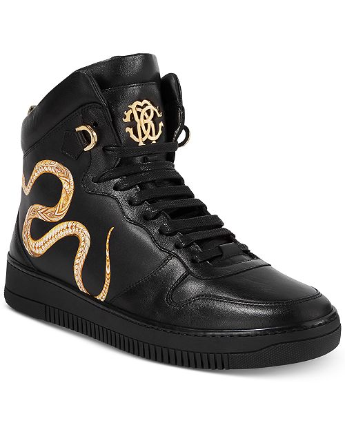 b0b7e75266575 Roberto Cavalli Men s Leather Gold Hightop Sneakers   Reviews - All ...