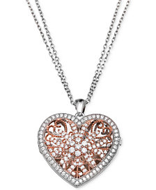 Giani Bernini Cubic Zirconia Two-Tone Locket Pendant Necklace, Created for Macy's