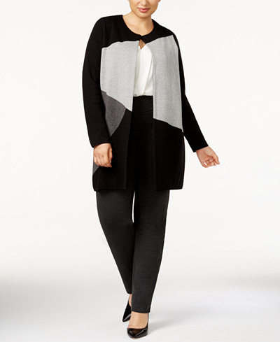 Charter Club Plus Size Colorblocked Duster Cardigan, Created for Macy's