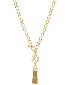 Ivanka Trump Gold-Tone Crystal & Chain Tassel Pendant Necklace