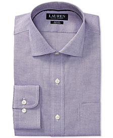 Lauren Ralph Lauren Men's Slim-Fit Stretch Non-Iron Purple Solid Oxford Dress Shirt