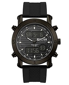 Men's Analog-Digital Sport Black Rubber Strap Watch 45mm