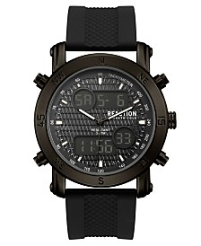 Kenneth Cole Reaction Men's Analog-Digital Sport Black Rubber Strap Watch 45mm