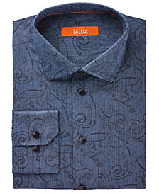 Tallia Men's Fitted Blue Jacquard Exploded Paisley Dress Shirt