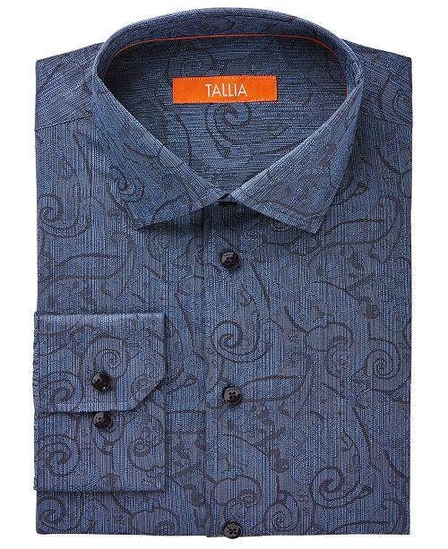 Tallia Men's Fitted Blue Jacquard Exploded Paisley Dress Shirt