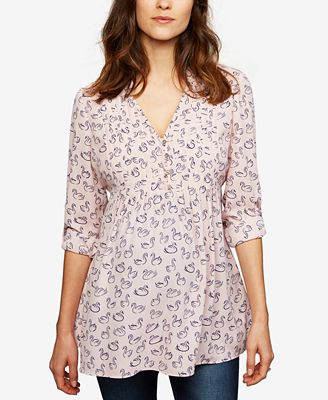A Pea In The Pod Maternity Printed Babydoll Top