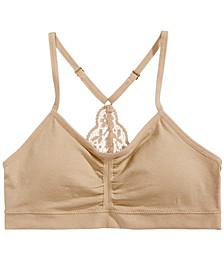 Lace-Back Ruched Seamless Crop Bra, Little Girls & Big Girls