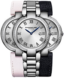 RAYMOND WEIL Women's Swiss Shine Diamond (1/4 ct. t.w.) Stainless Steel Bracelet Watch 32mm with Interchangeable Repetto Leather Strap Set