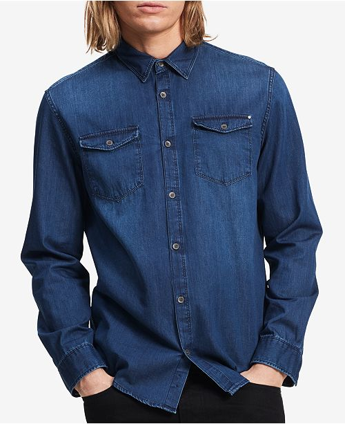 7d8e26dcdaa Calvin Klein Jeans Men s Chill Indigo Denim Shirt   Reviews - Casual ...