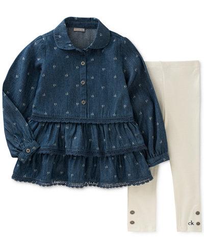 Calvin Klein 2-Pc. Logo-Print Denim Tunic & Leggings Set, Little Girls