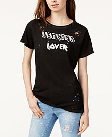 Prince Peter Cotton Ripped Weekend Lover Graphic T-Shirt