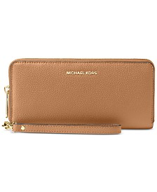 MICHAEL Michael Kors Mercer Travel Continental Pebble Leather Wristlet