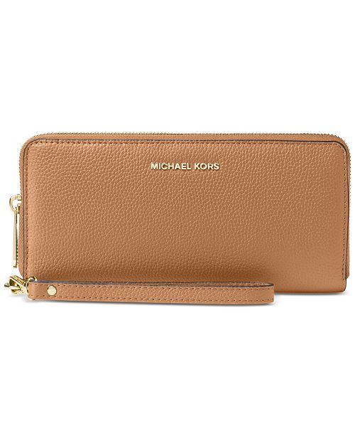 4d963b6ac5c121 ... Michael Kors Mercer Travel Continental Pebble Leather Wristlet ...