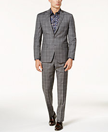 Tallia Men's Slim-Fit Taupe Double Windowpane Suit
