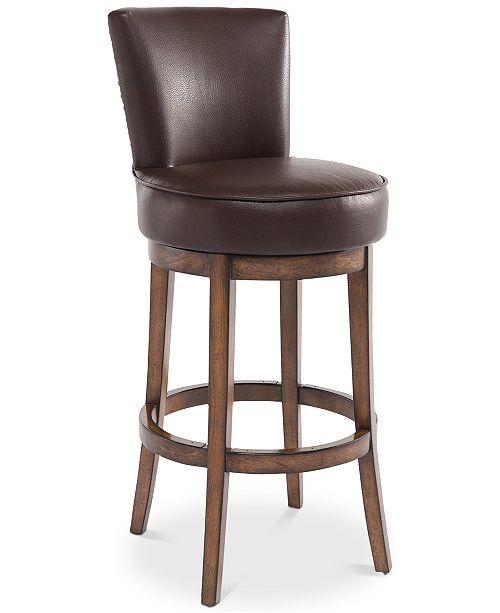 "Armen Living Boston 30"" Bar Height Swivel Wood Barstool in Chestnut Finish and Kahlua Faux Leather"