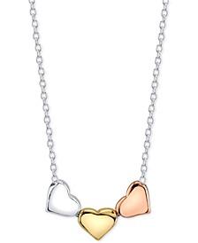 Tri-Tone Triple Heart Pendant Necklace in Sterling Silver