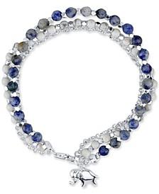 Sodalite Beaded Elephant Charm Bracelet in Silver-Plate