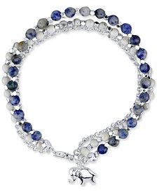 Unwritten Sodalite Beaded Elephant Charm Bracelet in Silver-Plate