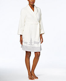 Charter Club Short Border-Print Robe, Created for Macy's