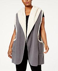 HUE® Plus Size Sleeveless Hooded Robe