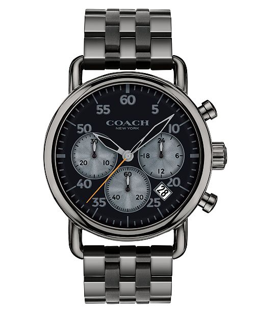 COACH Men's Chronograph Delancey Gray Stainless Steel Bracelet Watch 42mm