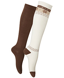 HUE® Women's 2-Pk. Blocked Fair Isle Knee Socks