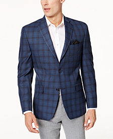 Michael Kors Men's Classic-Fit Blue & Gray Plaid Sport Coat