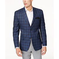 Michael Kors Mens Classic-Fit Plaid Sport Coat (Blue & Gray)
