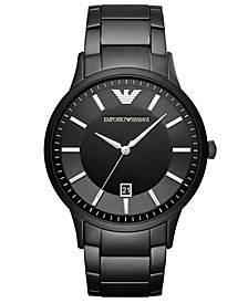 Men's Black Stainless Steel Bracelet Watch 43mm