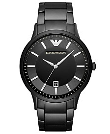 Emporio Armani Men's Black Stainless Steel Bracelet Watch 43mm