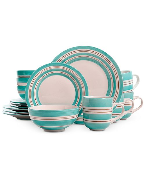 Gibson Teal Sunset Stripes 16-Pc. Dinnerware Set