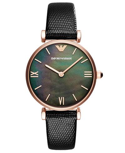dd42cdcfa91a3f Emporio Armani Women's Black Leather Strap Watch 32mm - Best Ladies ...