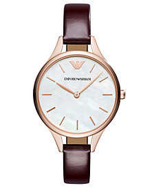 Emporio Armani Women's Burgundy Leather Strap Watch 32mm