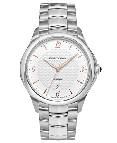 Emporio Armani Swiss Men's Automatic Esedra Stainless Steel Bracelet Watch 43mm