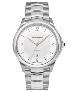 Emporio Armani Swiss Men's Automatic Esedra Stainless Steel Bracelet Watch 43mm thumbnail