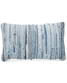 "Lucky Brand Chindi 16"" x 24"" Hand Woven Denim Pillow, Created for Macy's"