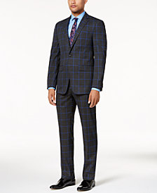 Sean John Men's Slim-Fit Charcoal Windowpane Suit Separates