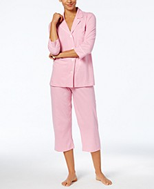 3/4 Sleeve Cotton Notch Collar Capri Pant Pajama Set