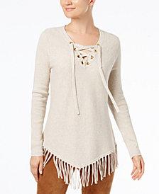 I.N.C. Petite Ribbed Fringe-Trim V-Hem Sweater, Created for Macy's