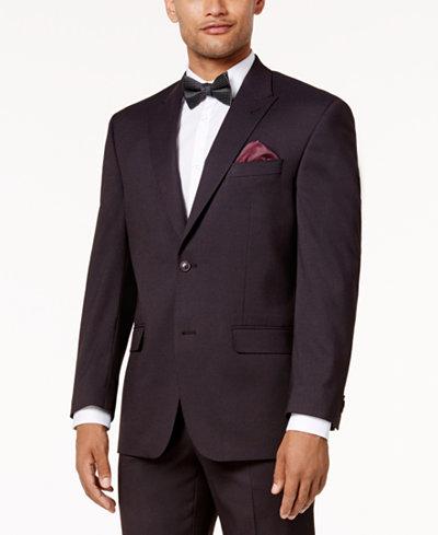 Sean John Men's Classic-Fit Stretch Burgundy Tic Peak Lapel Suit Jacket