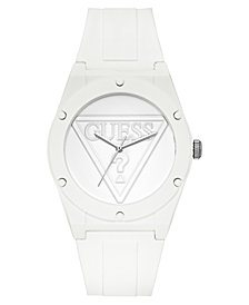 GUESS Unisex Iconic Logo White Silicone Strap Watch 42mm