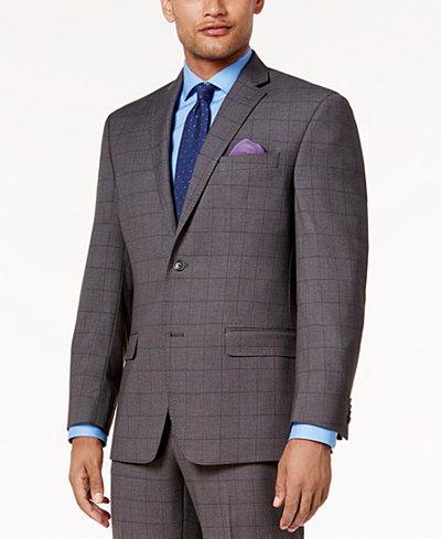 Sean John Men's Classic-Fit Stretch Gray/Blue Birdseye Windowpane Suit Jacket