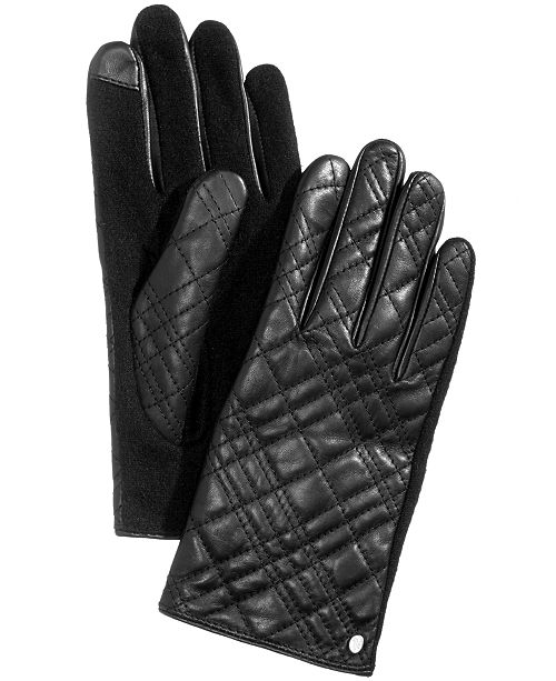 Lauren Ralph Lauren Plaid Quilted Leather Touchscreen Gloves ... ecbb1ec735d