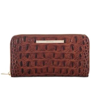 Brahmin Suri Melbourne Embossed Leather Wallet In Pecan/gold