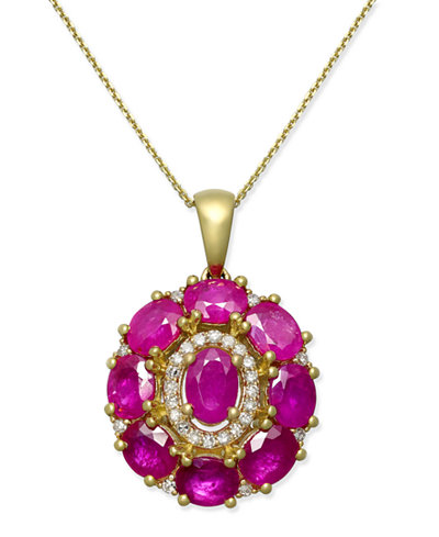 Certified Ruby (4 ct. t.w.) & Diamond (1/8 ct. t.w.) Pendant Necklace in 14k Gold